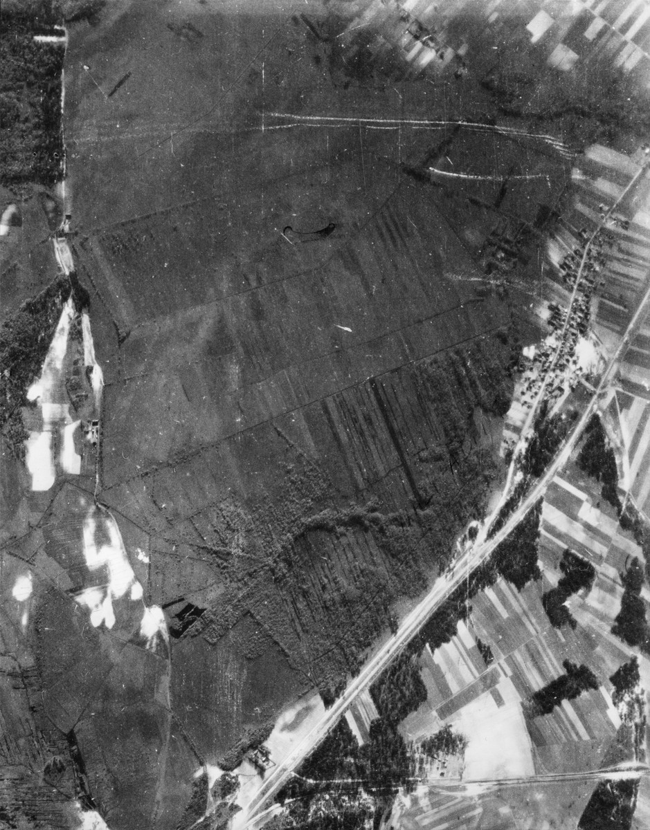 An aerial photo of the area around the Treblinka concentration camp. [oversize print]