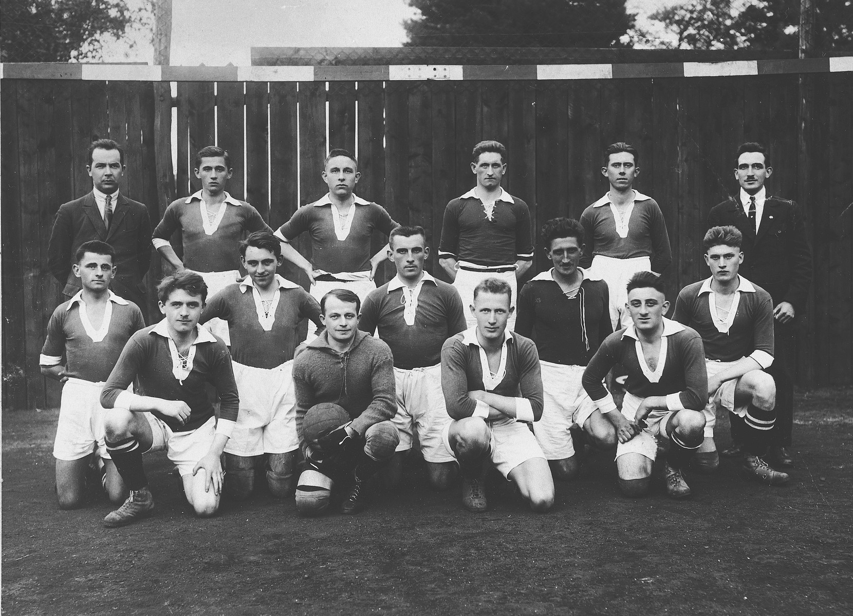 """Group portrait of members of the """"Red Boys"""" soccer team in Differdange, Luxembourg.  Among those pictured is Rene Nussbaum, who became a member of the Luxembourg national soccer team."""