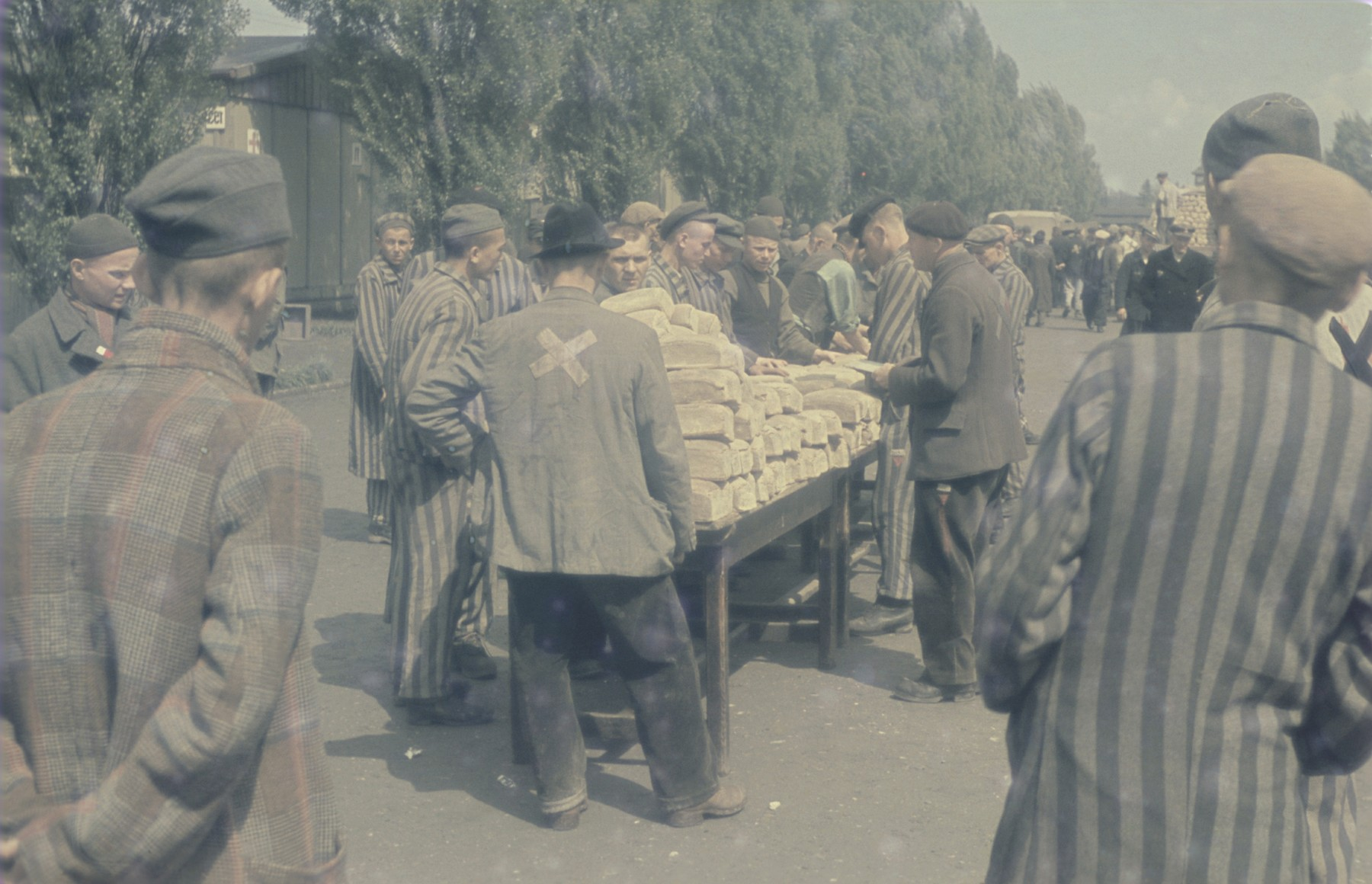 Loaves of bread are distributed to survivors in the newly liberated Dachau concentration camp.