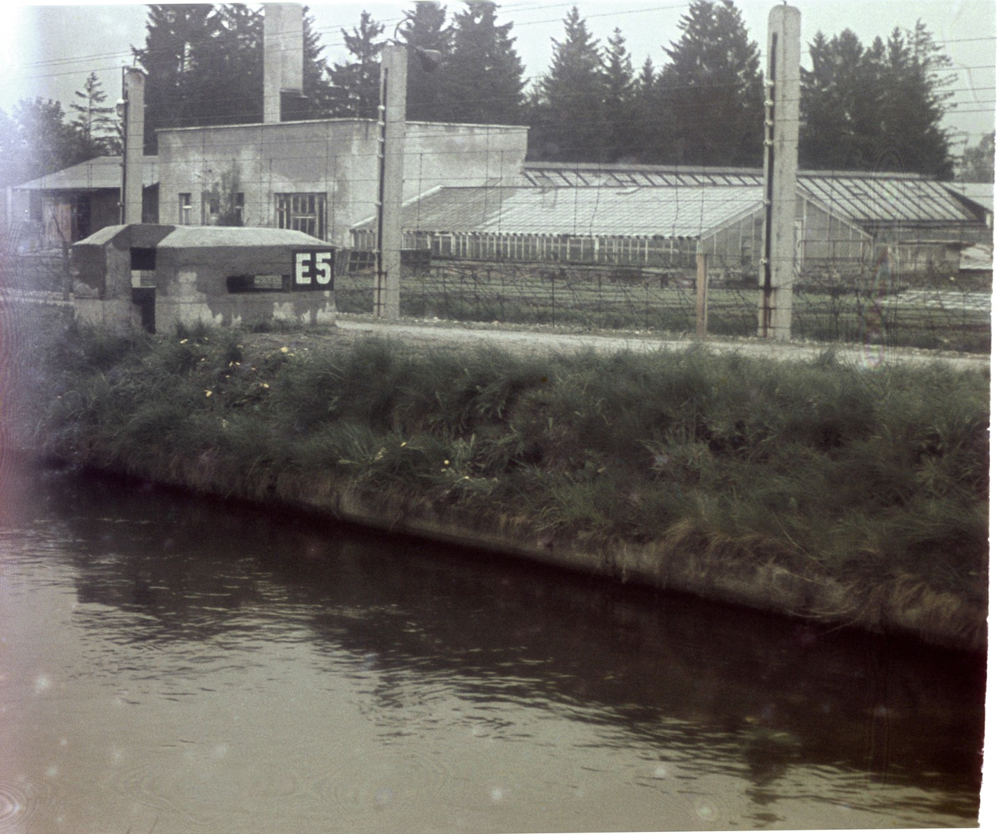 View of a section of the moat in the newly liberated Dachau concentration camp.