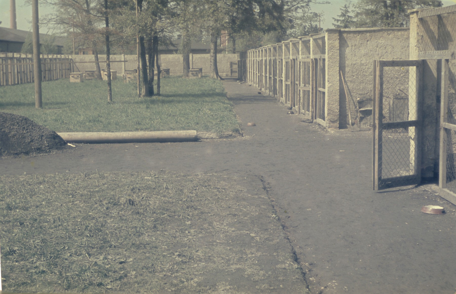 View of the dog kennels in the newly liberated Dachau concentration camp.