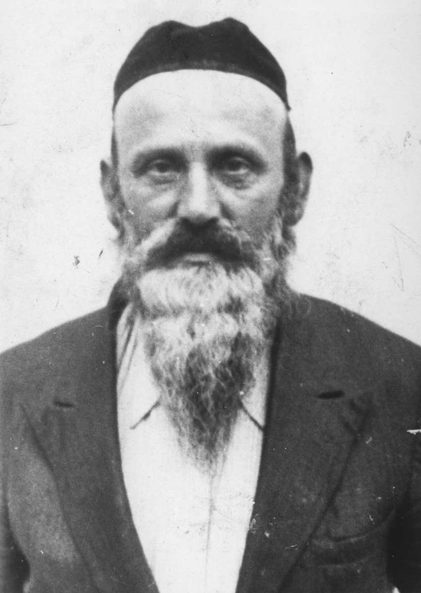 Symche Stapler, a Belzer Hasid, taken prior to his beard being forcibly shaven.