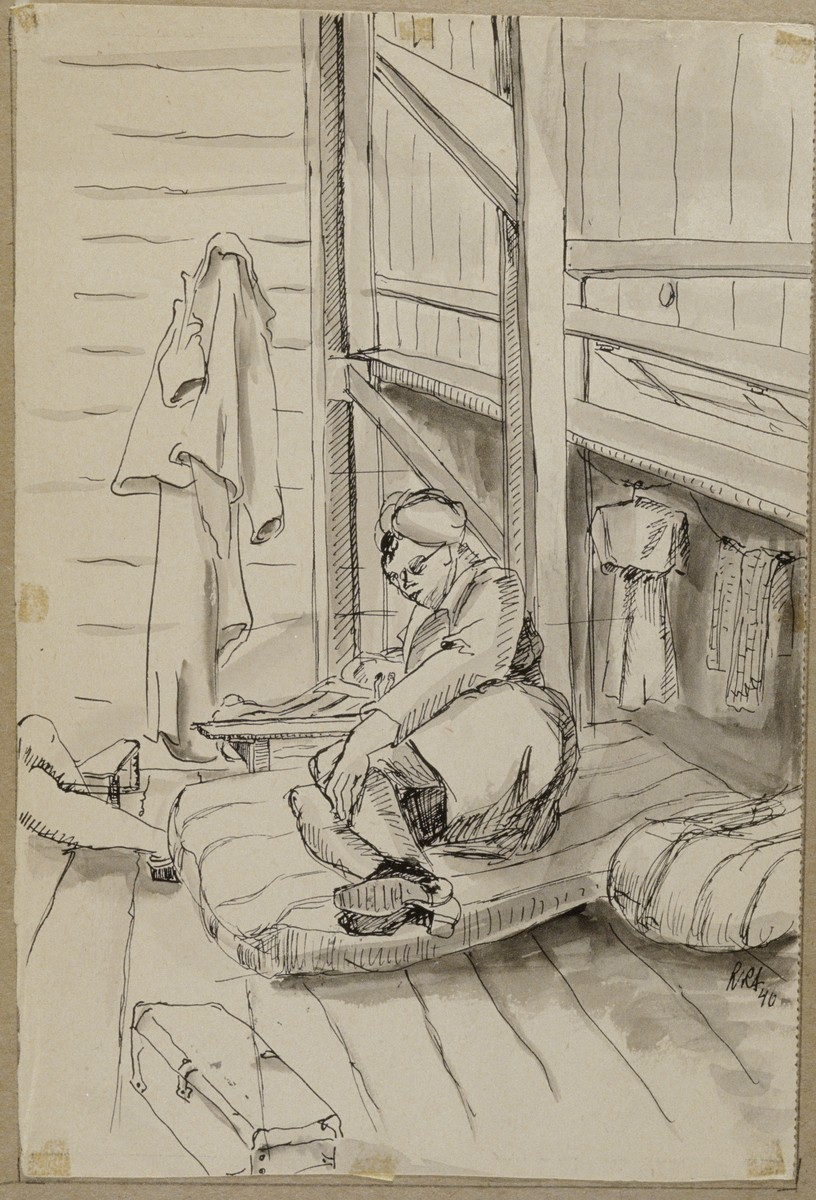 """Barracks Interior"" by Lili Andrieux.  Sketch of woman, with her hair covered, lying on a mattress on the floor, clothes hanging on the wall behind her."