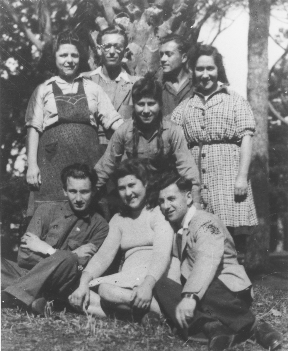 Members of Kibbutz Ichud in Grottaferrata.  Hela Iwaniska is standing on the right.  Rushka is seated in the center, and Zosia is kneeling behind her.