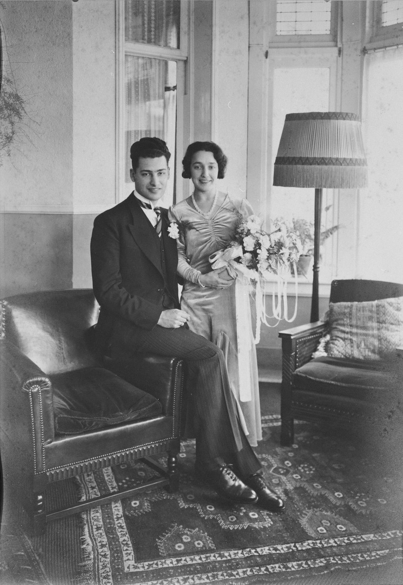 "Marriage photograph of Robert Belinfante, the donor's brother,  with his Jewish wife.    After the German invasion of the Netherlands in 1940, Bob and his wife tried to commit suicide.  Bob left a note, ""Mother, don't grieve about us because we wouldn't have been happy in a world like that.""  His wife was pregnant at that time. Bob died, his wife survived, but she lost the baby.  She died a year later while in hiding."