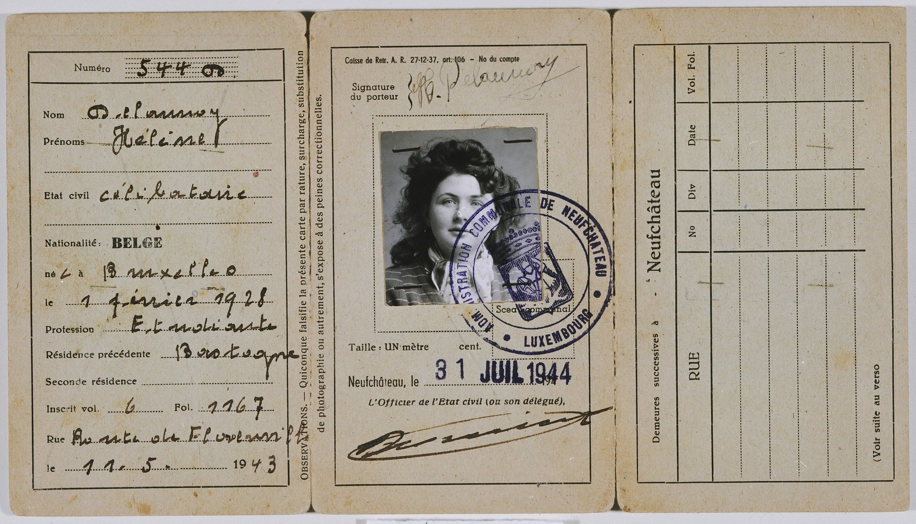 False papers issued to Hena Kohn while she was living in hiding in Neufchateau, Belgium.