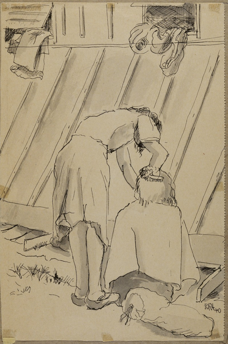 """""""Delousing"""" by Lili Andrieux.  Sketch of woman bending over, combing or washing the hair of another person seated on the ground next to her."""