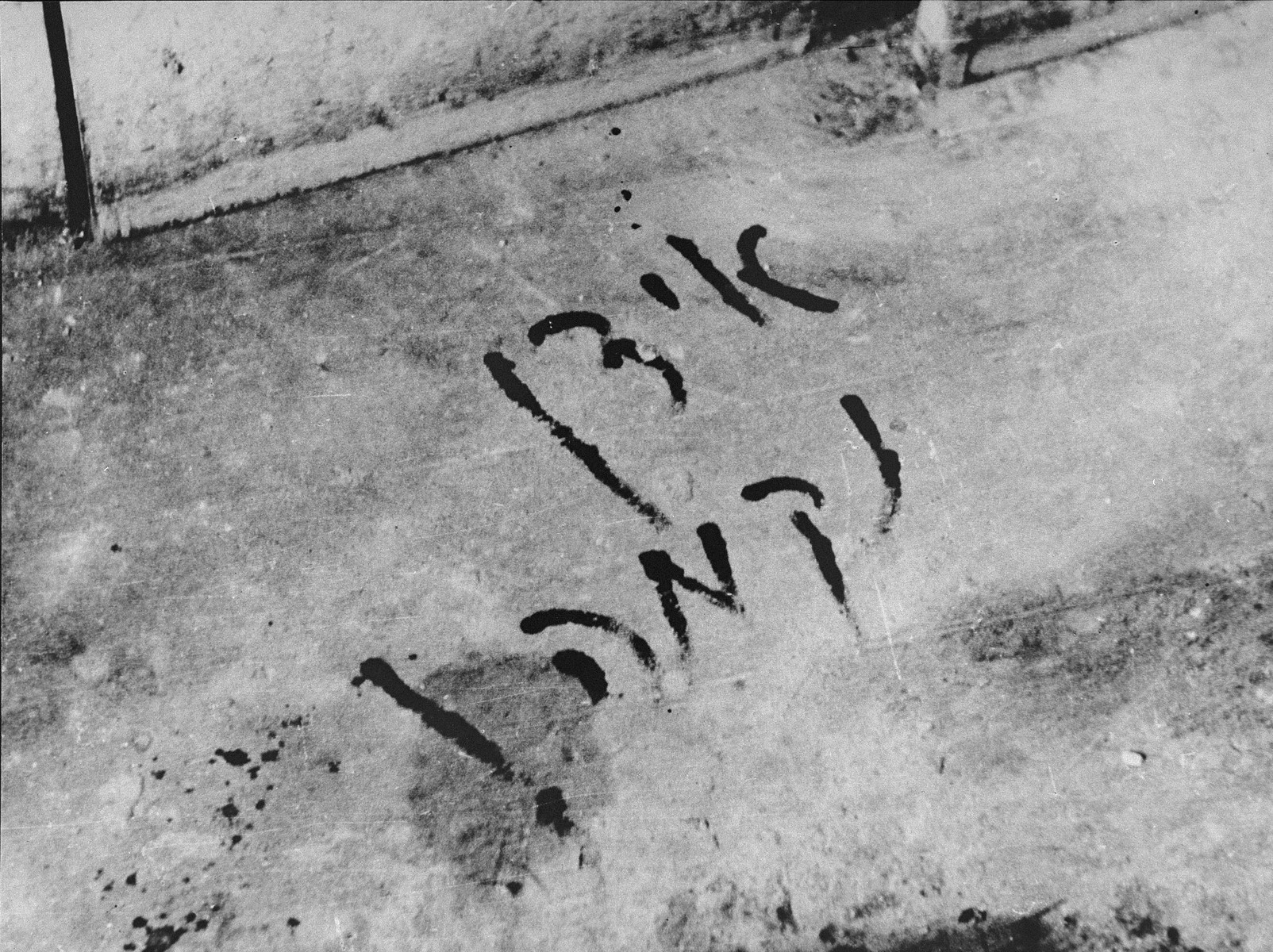 """The Yiddish words, """"Jews Revenge!"""" scrawled in blood on the apartment floor of a Jew murdered in the Slobodka pogrom.  [oversized photo]"""