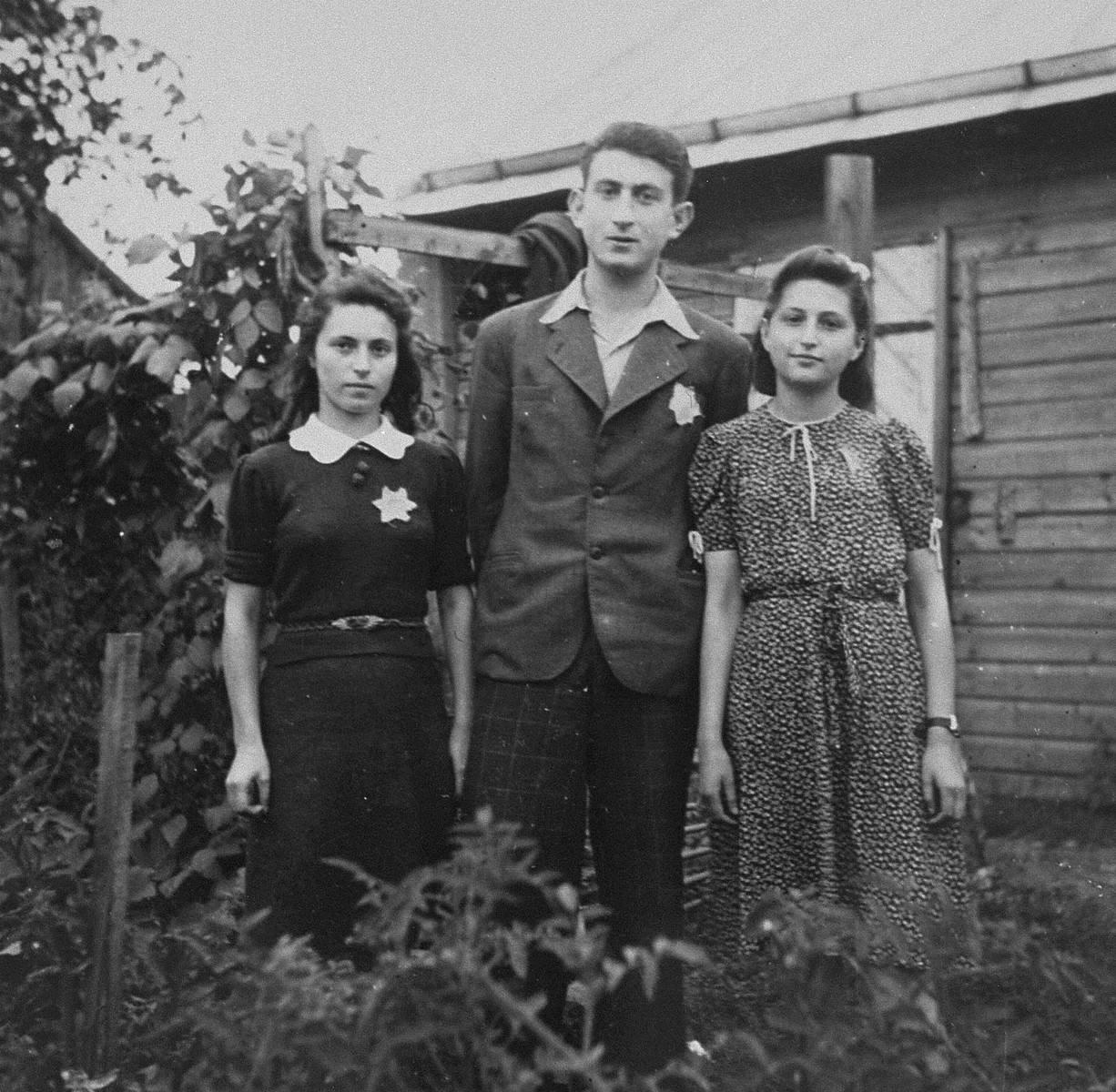 Three members of the Irgun Brit Zion Zionist youth movement in the Kovno ghetto.  Pictured from left to right are: Nechama Boruchson, Moshe Shapiro and Sara Benjamin Leibson.