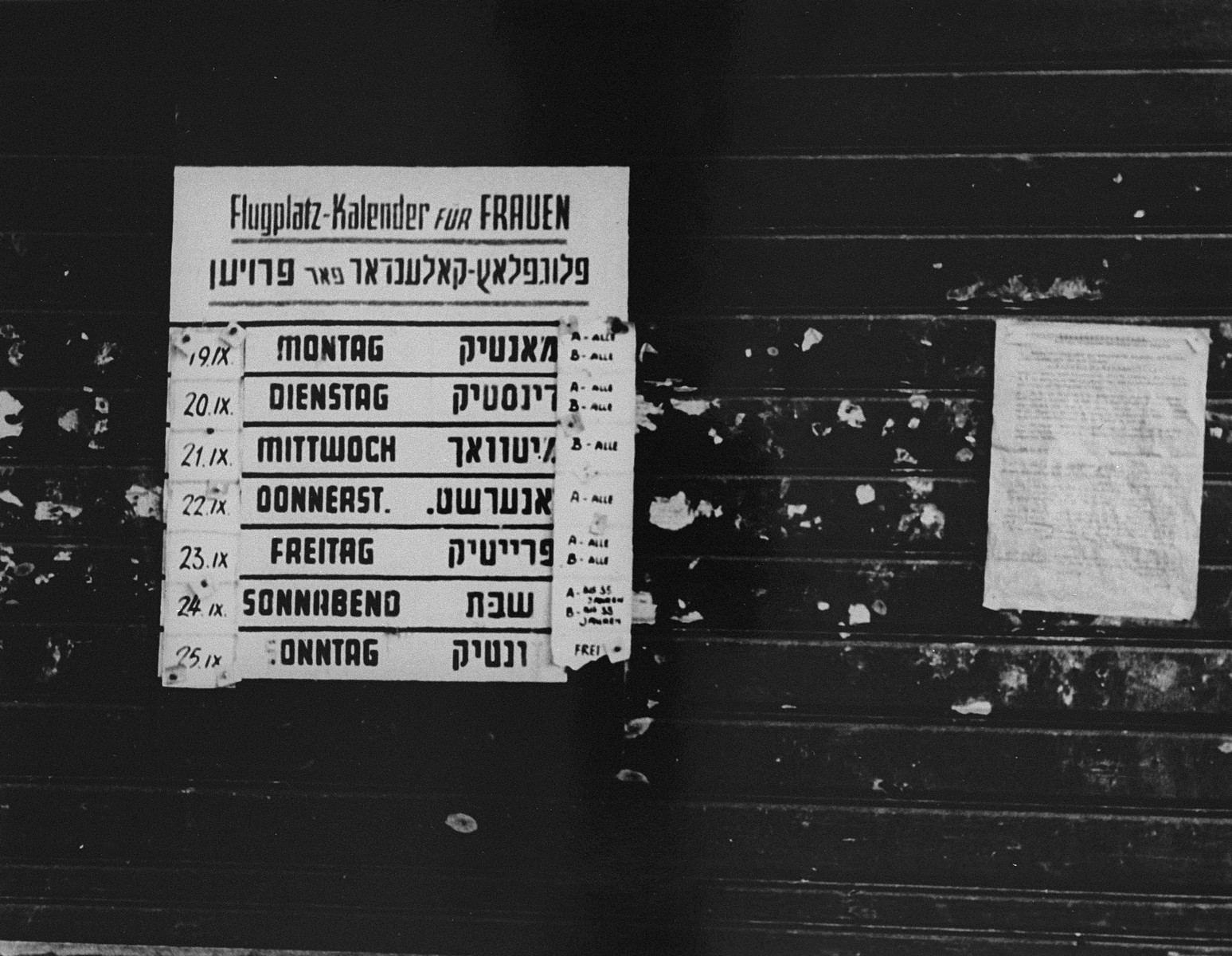Work schedule for women working at the airport near the ghetto. Work included scraping the ice off the runway, building and digging ditches.