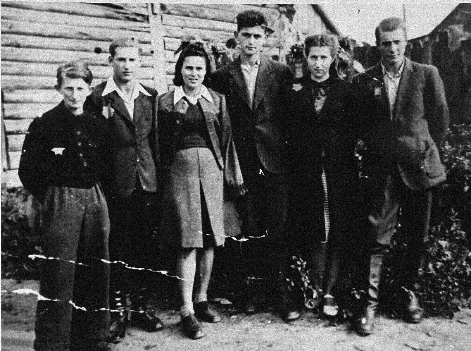Group portrait of Jewish youth in the Kovno ghetto, who were involved in the underground.    Pictured from left to right are:  Zalman Holtzberg, Samuel Ingel, Leah Port, David Goldin, Esther Labonowski and Israel Goldblatt.