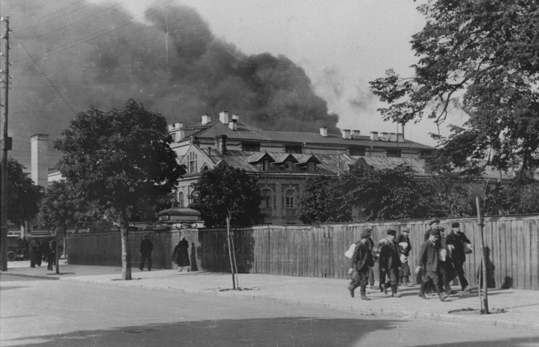 View of the smoke rising from the Kovno ghetto, during its liquidation.