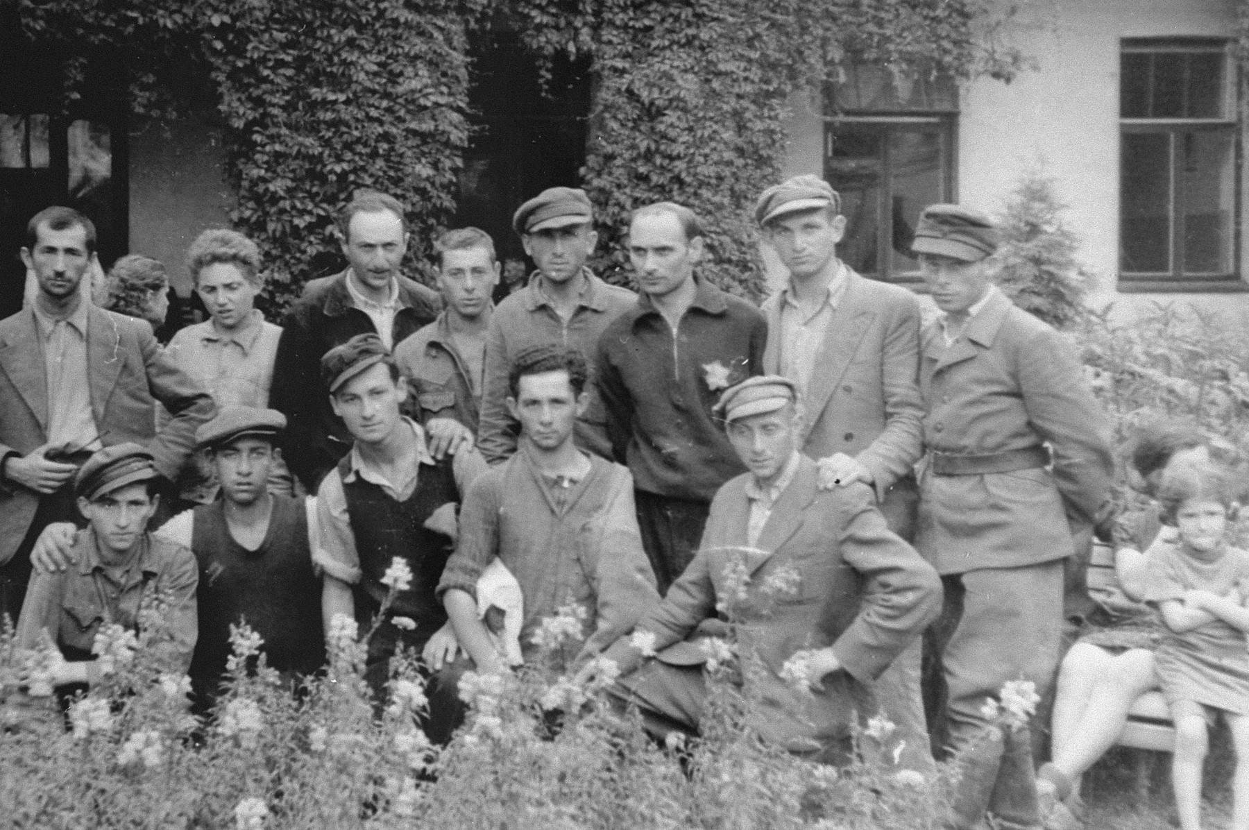 Survivors of the Kovno ghetto meet few days after the liberation.