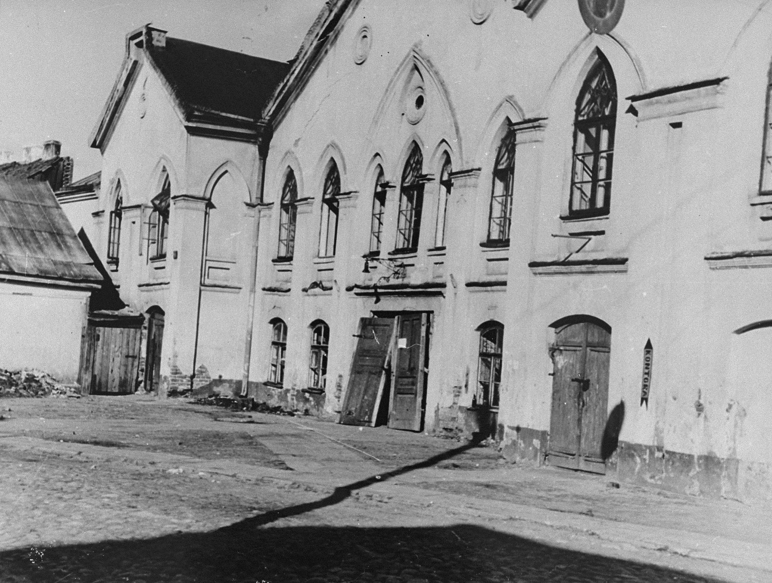 View of the vandalized New Beit Midrash (house of study) in Kovno.