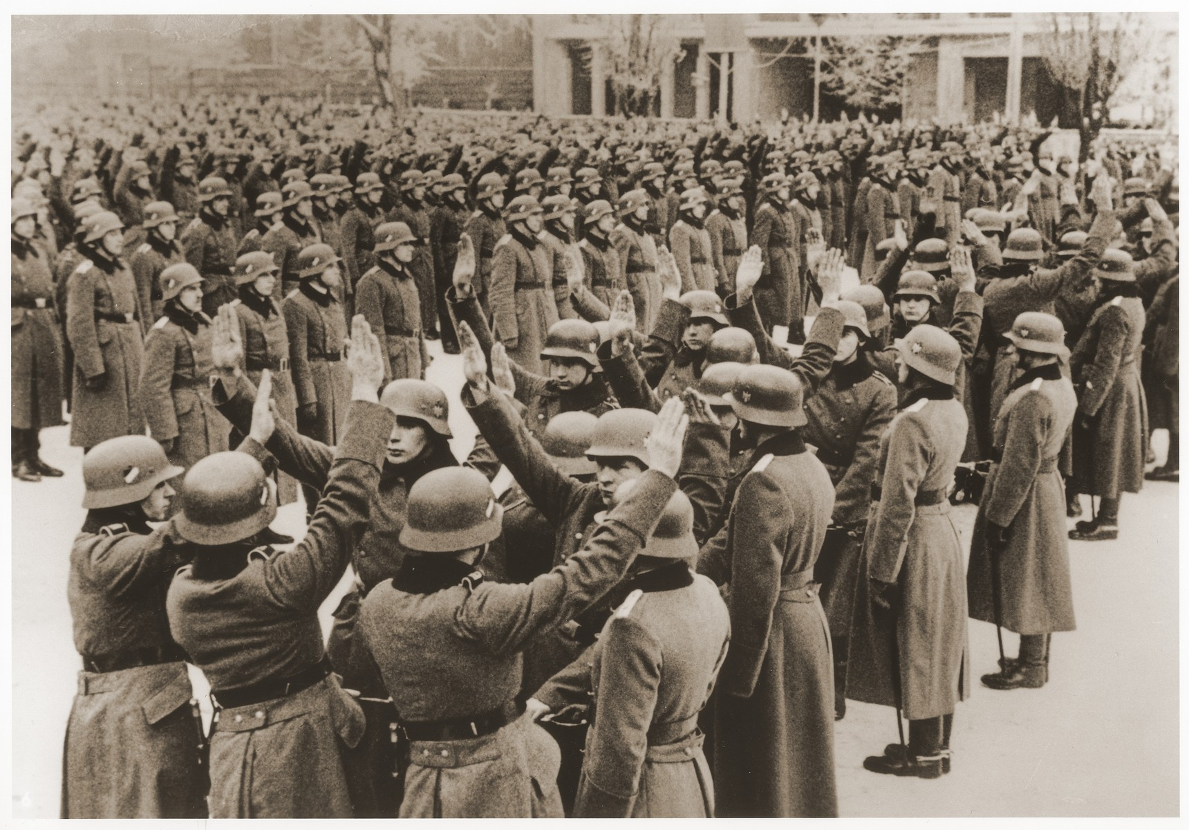 Ethnic German recruits to the German Army from Posen swear allegiance to the Fuehrer.