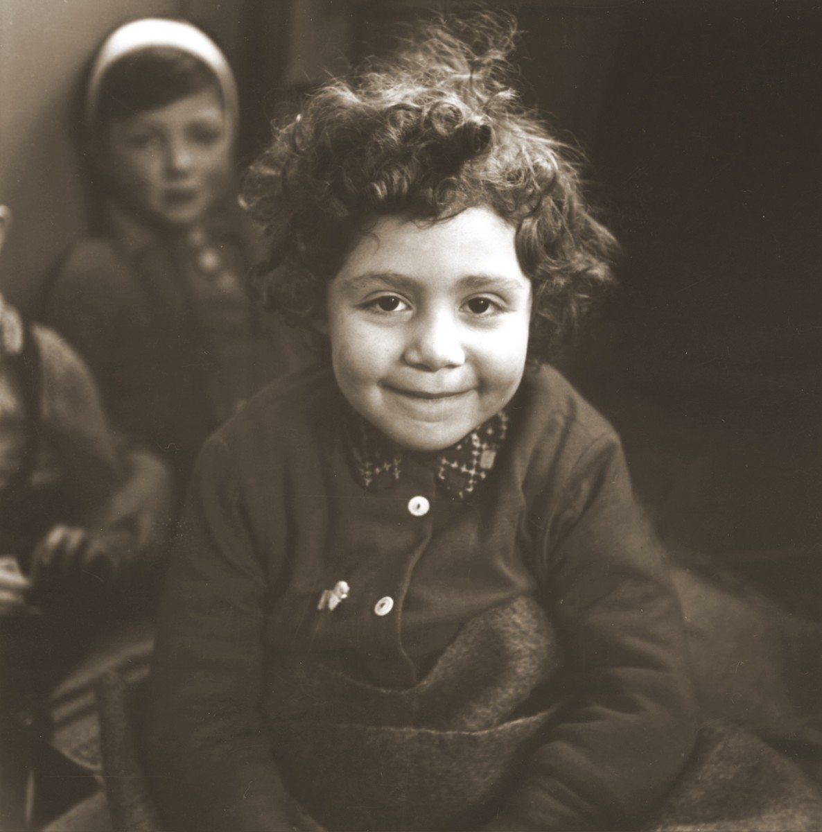 Portrait of a young Jewish child in the Hadwigschulhaus in St. Gallen.