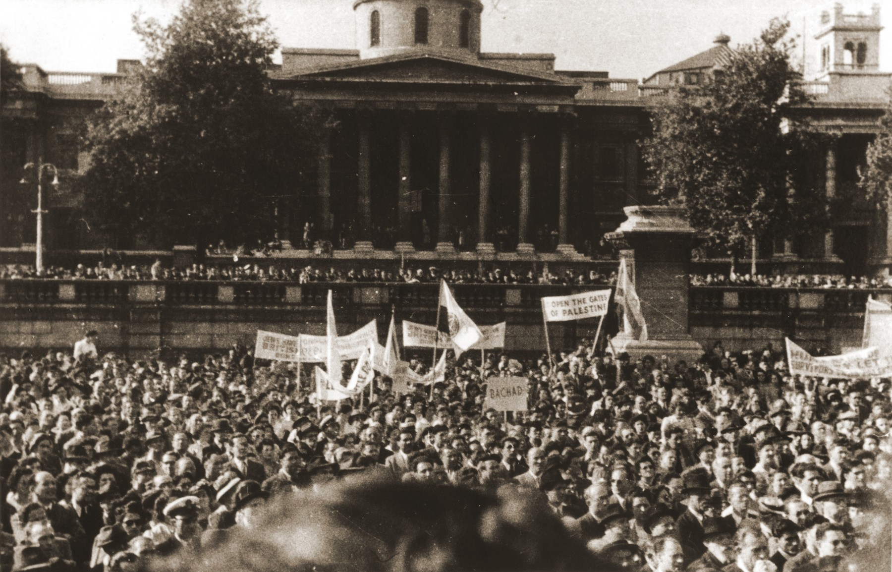 A large crowd of demonstrators protesting against British policy in Palestine, fills Trafalgar Square in London.  Among the demonstrators are members of the orphans transport to England.