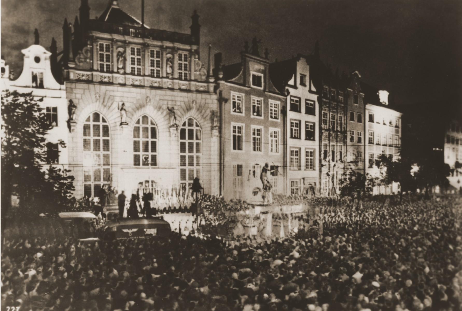 At a rally in the Langer Markt, Danzig residents call for the city's annexation by the Third Reich.