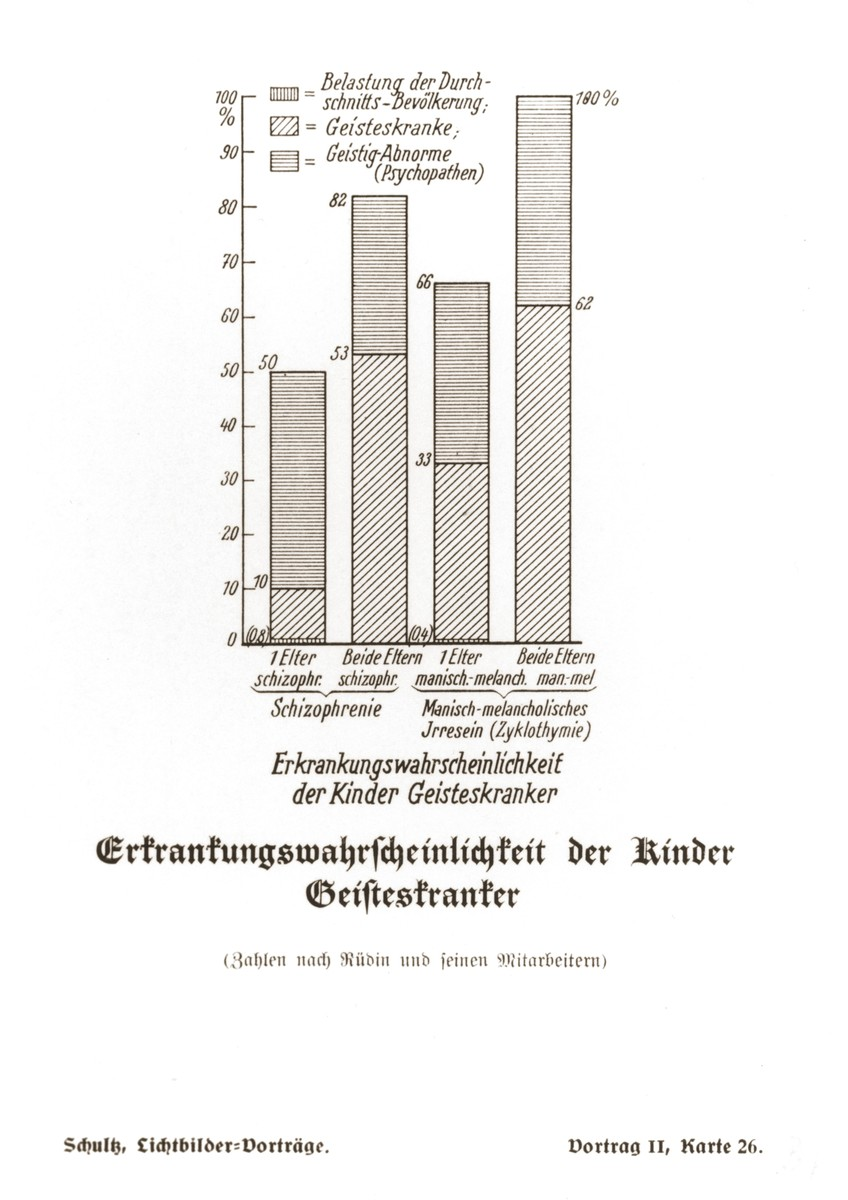 Comparative chart illustrating the probability of mental illness among the offspring of schizophrenics, manic-depressives, and members of the general population.  The chart was taken from a set of slides produced to illustrate a lecture by Dr. Ludwig Arnold Schloesser, director of education for the SS Race and Settlement Office, on the foundations of the study of heredity. [Lecture 1, Card 26]