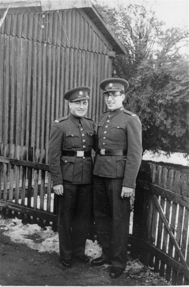 Two Jewish soldiers in the Czech army.  Pictured are Eliahu (Andreas) Kohn (left) and his cousin Stefan Reiner. Both were from Lucenec, Czechoslovakia.