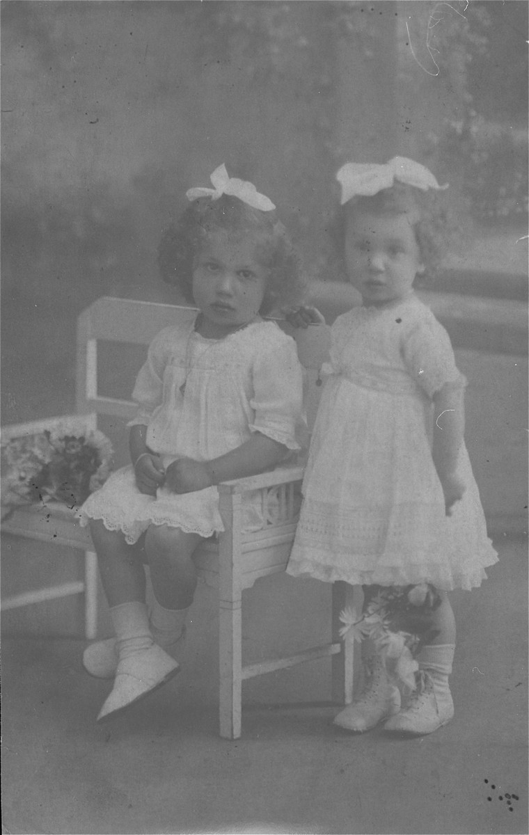 Portrait of the donor, Ilse Dahl (right) and her sister, as young children in Geilenkirchen, Germany.