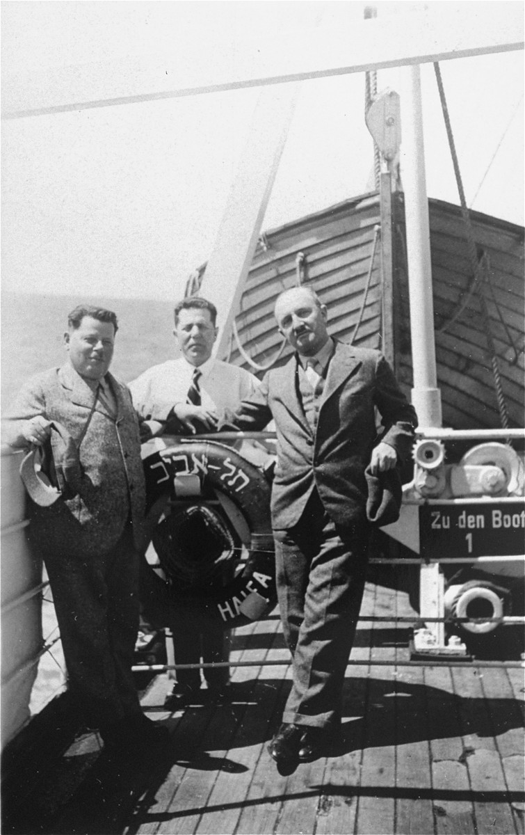 Three Zionist leaders from Prague on board a ship on their way to or from Palestine.  Among those pictured are Viktor Kohn (right) and Julius Justic (left).