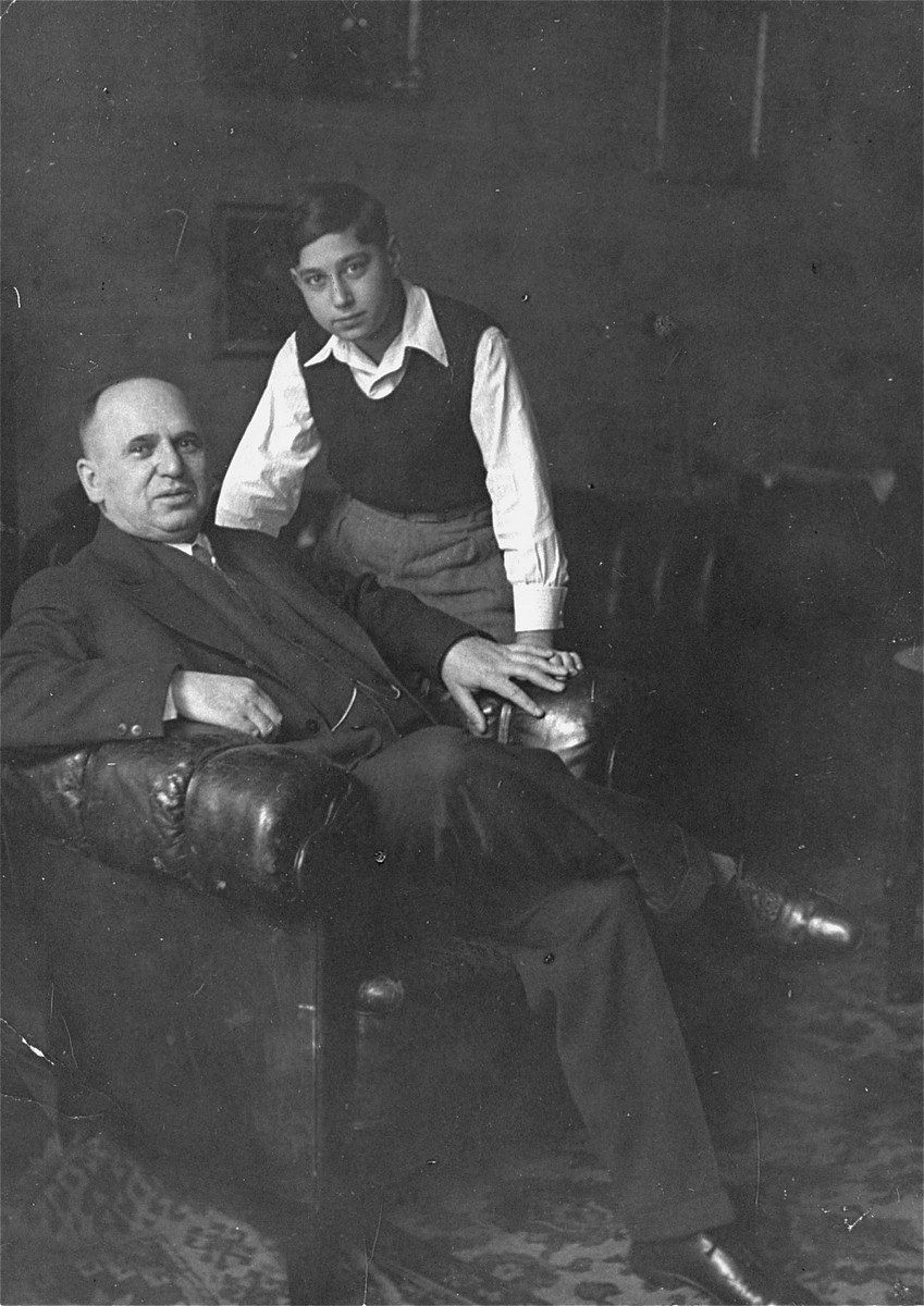Carl Victor and his son Peter in their apartment in Berlin.