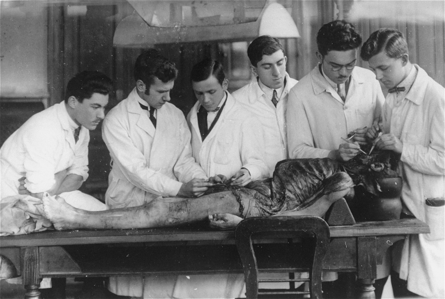 Medical students examine a cadaver at the Charles University in Prague.