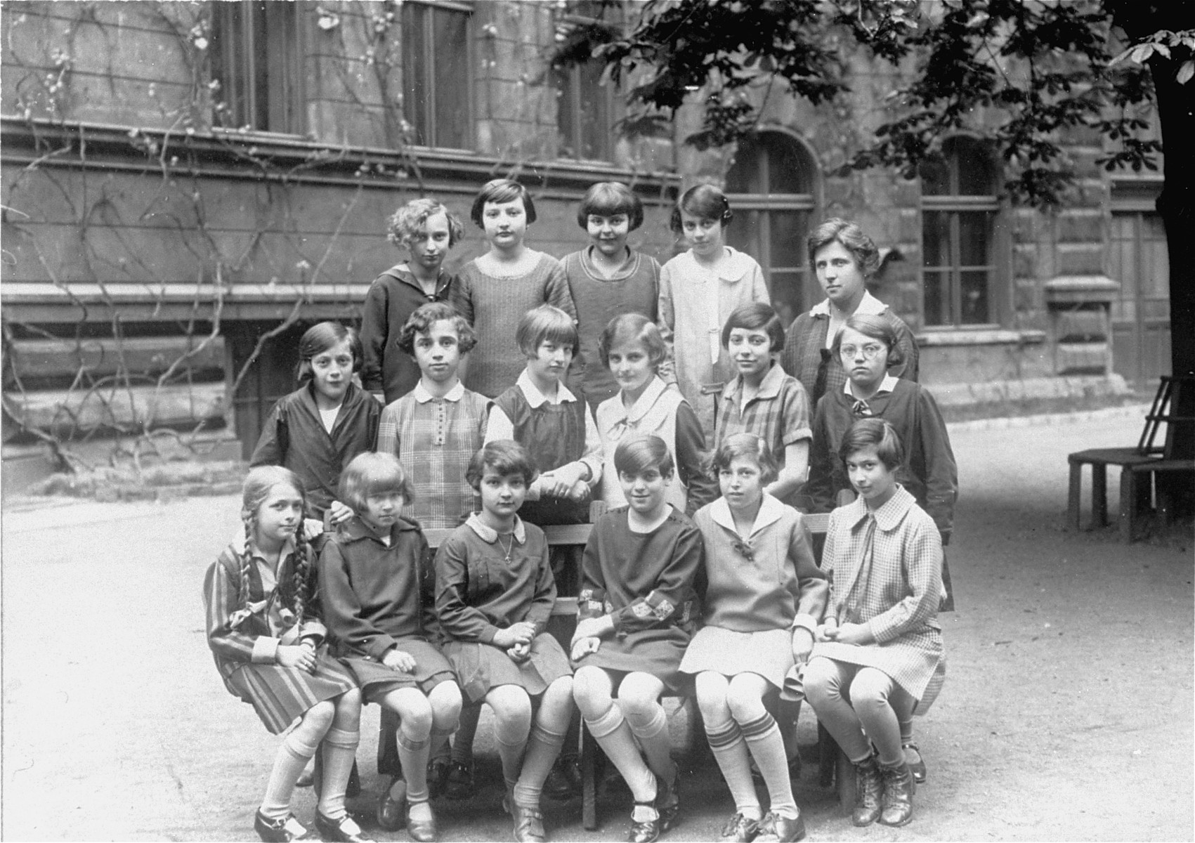Group portrait of pupils at the Deutsches Maedchen Reform Real Gymnasium Lycee in Prague.  Among those pictured is Ruth Kohn (top row, second from the left).