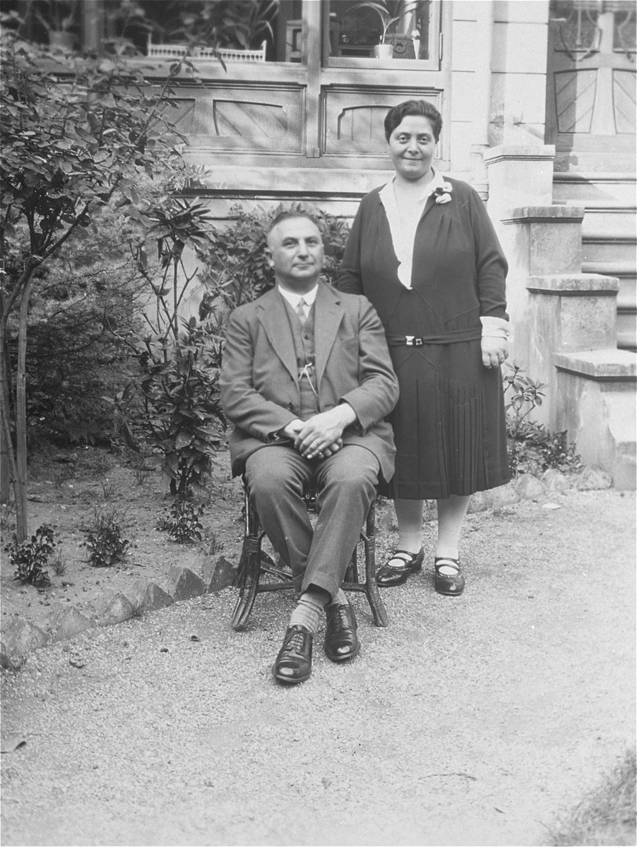 Portrait of Siegfried and Selma Meyer Cohn (the inlaws of the donor) in their garden in Koblenz.  Siegfried owned a retail shoe store in downtown Koblenz.