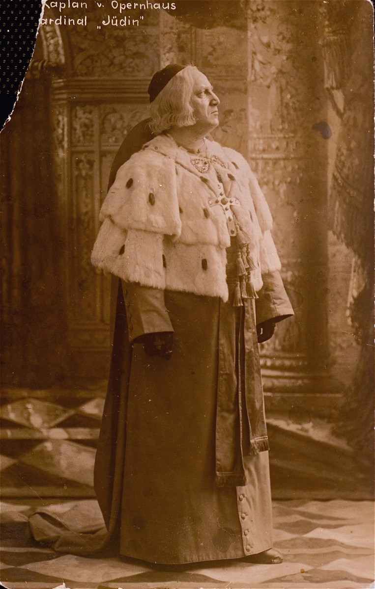 Portrait of the Jewish opera singer, Leo Kaplan, as the cardinal in the production of Juedin at the [Frankfurt?] opera house.  Kaplan performed with the Berlin opera in the interwar period.  He was the cousin of the donor's father.