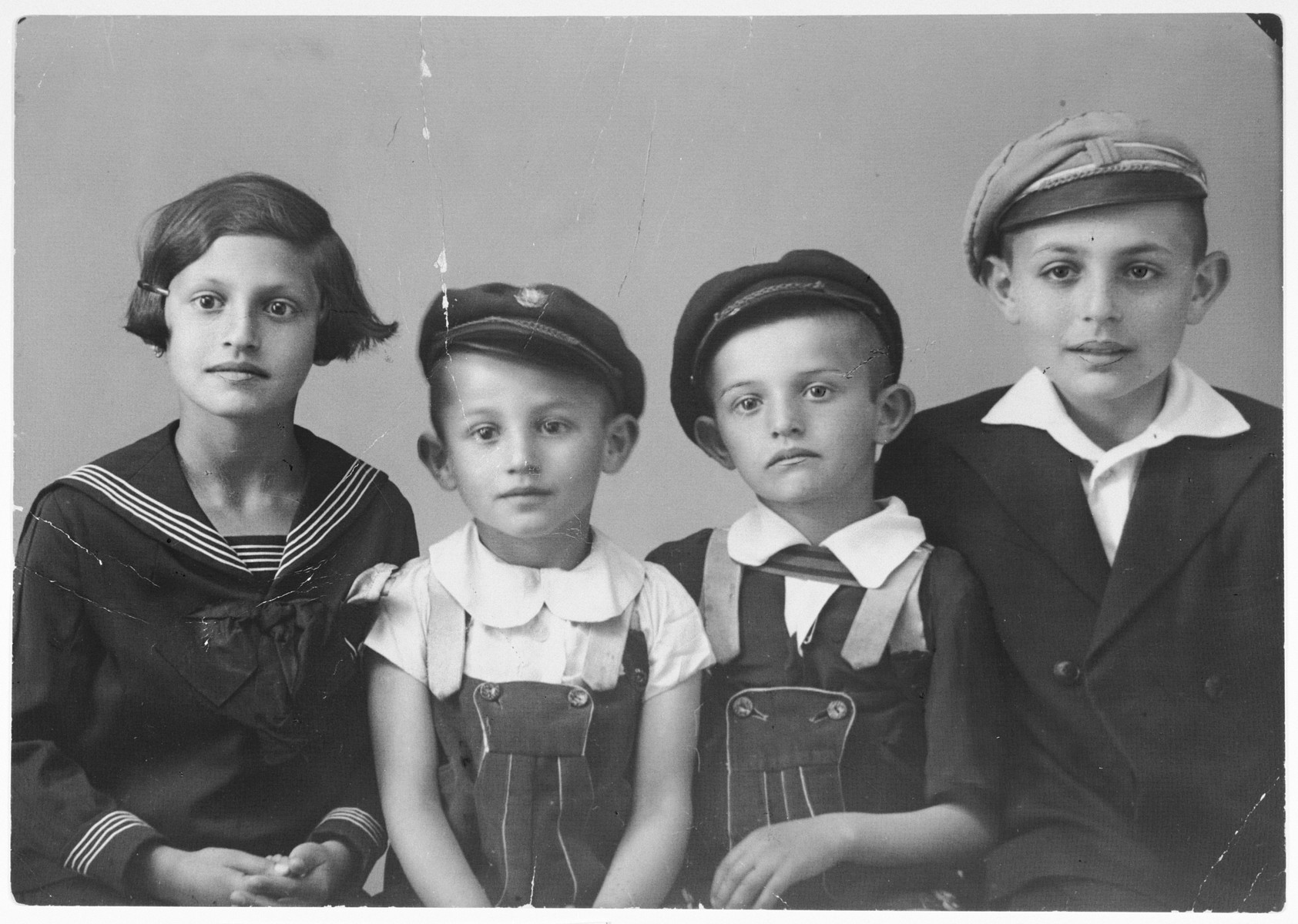 Portrait of four Ornstein children.  From left to right are Judith, Tibor, Zoltan and Paul.