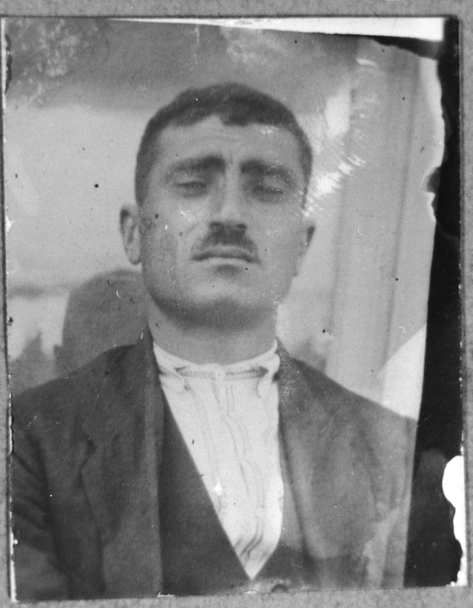 Portrait of Yosef Levi, son of Mushon Levi.  He was a porter.  He lived on Skopyanska in Bitola.