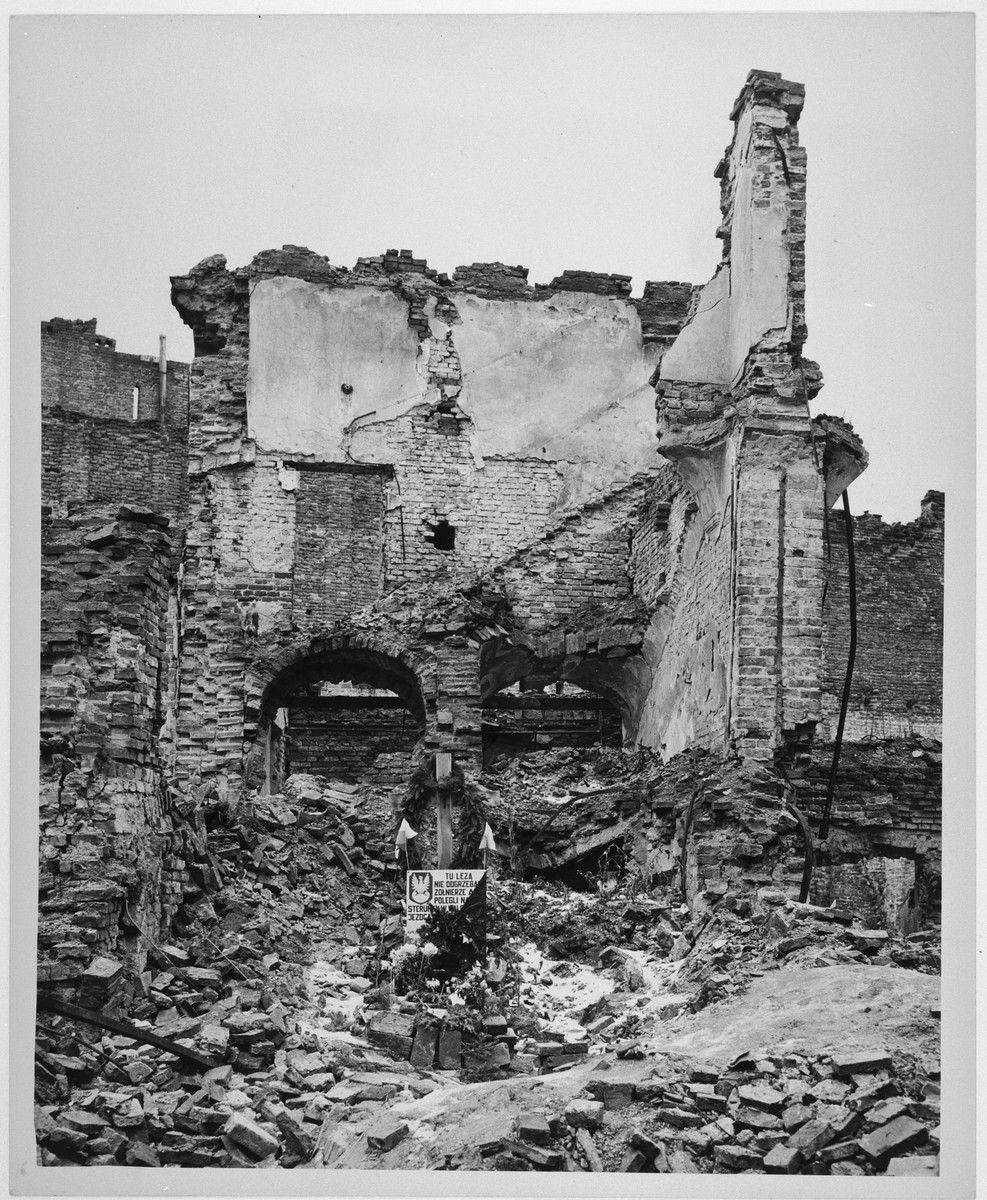 View of the destroyed grounds of the former Warsaw ghetto.