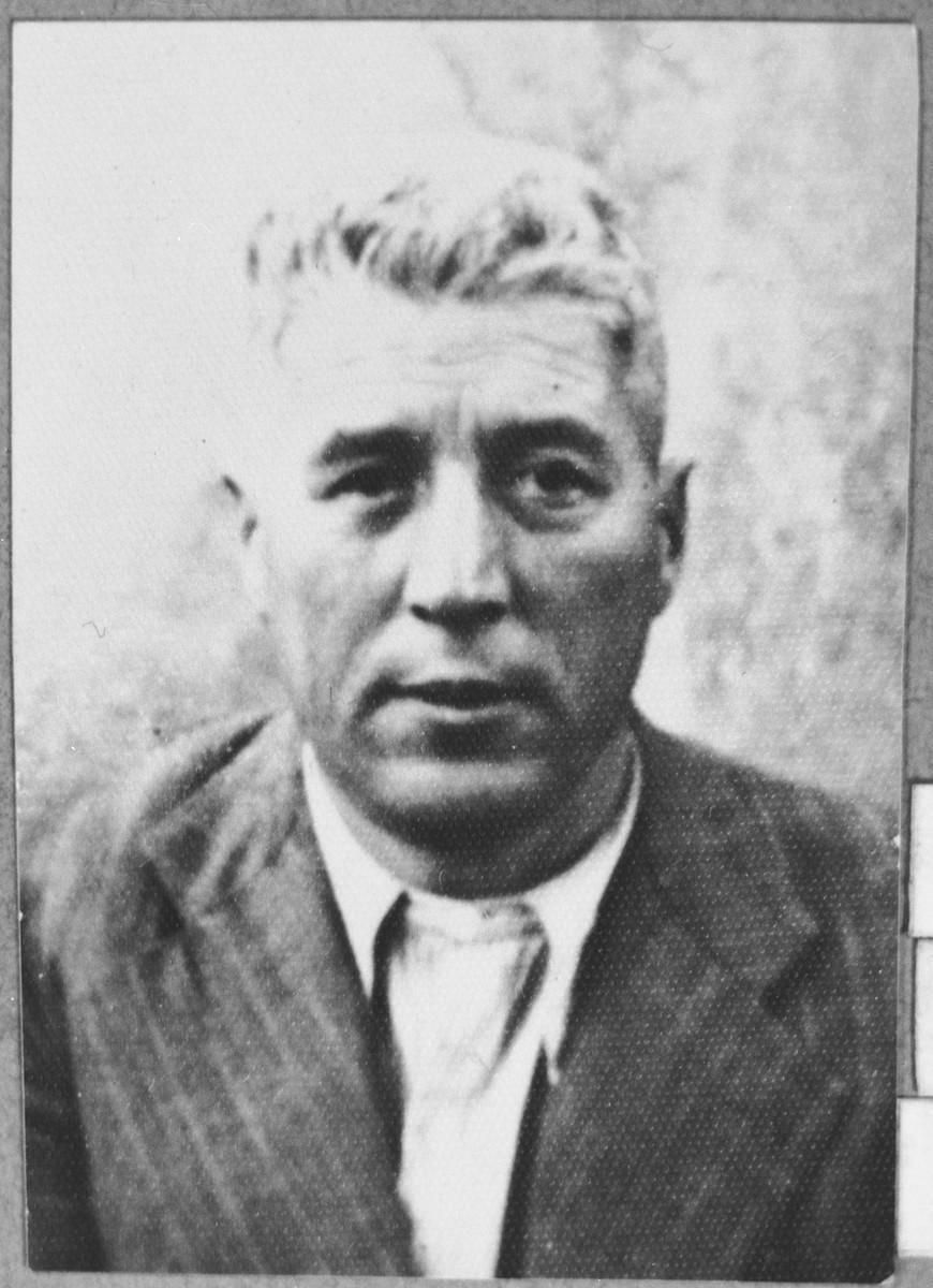 Portrait of Yosef Levi, son of Yakov Levi.  He was a manufacturer.  He lived at Debarska 4 in Bitola.