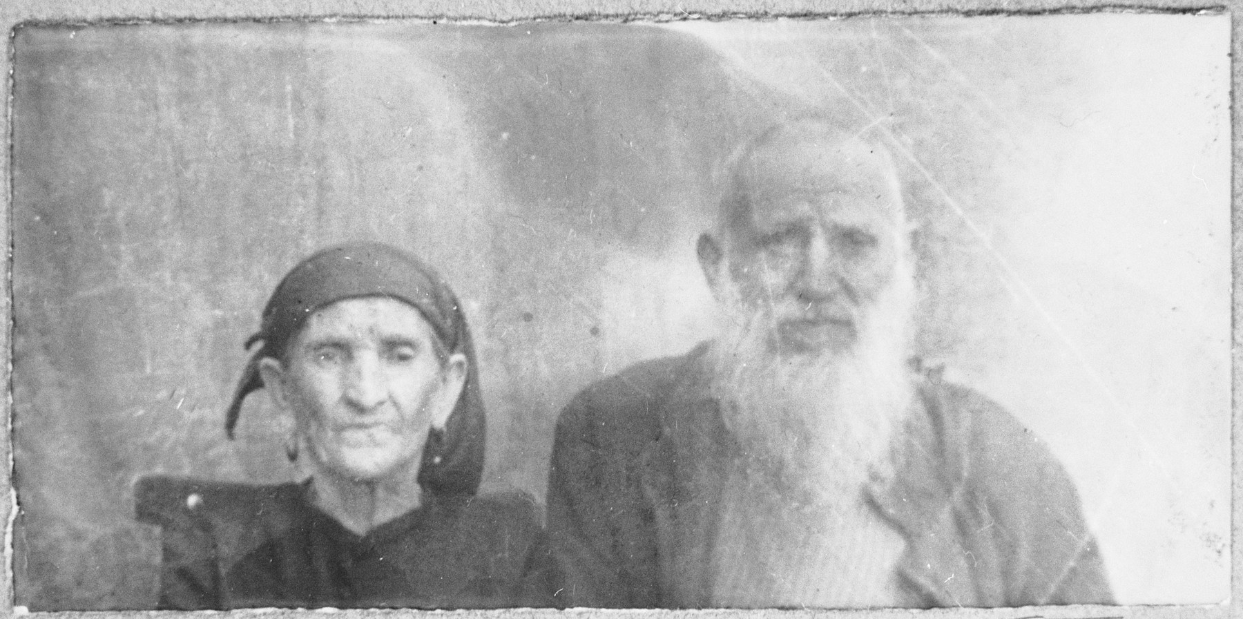 Portrait of Sava Koen and his wife, Ester.  Sava was a greengorcer.  They lived at Sremska 7 in Bitola.