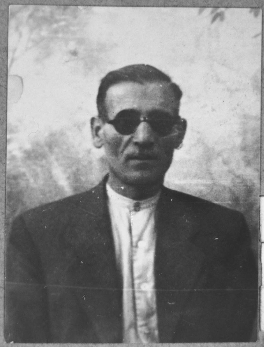 Portrait of Rafael (K.) Levi.  He was a salesman.  He lived at Asadbegova 6 in Bitola.