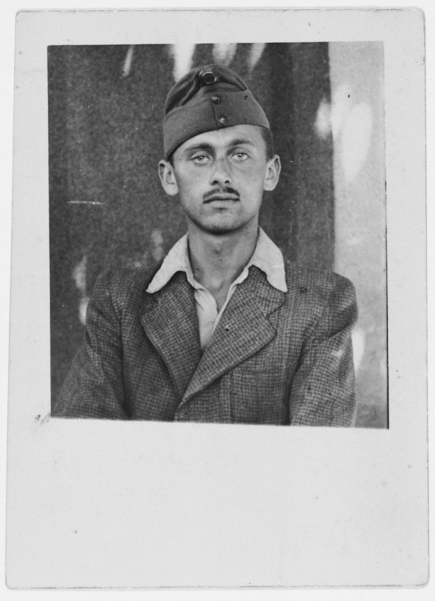 Portrait of Endre Brunn in his Hungarian labor battalion uniform taken during the summer of 1944.    He went on a death marched from Budapest to Mauthausen, Austria where he perished a few days after liberation.
