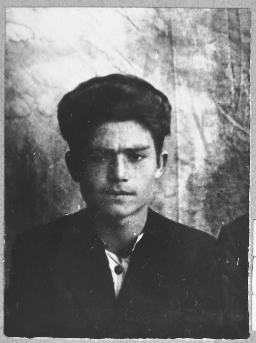 Portrait of Leon Levi, son of Avram Levi.  He was a student.  He lived at Novatska 23 in Bitola.