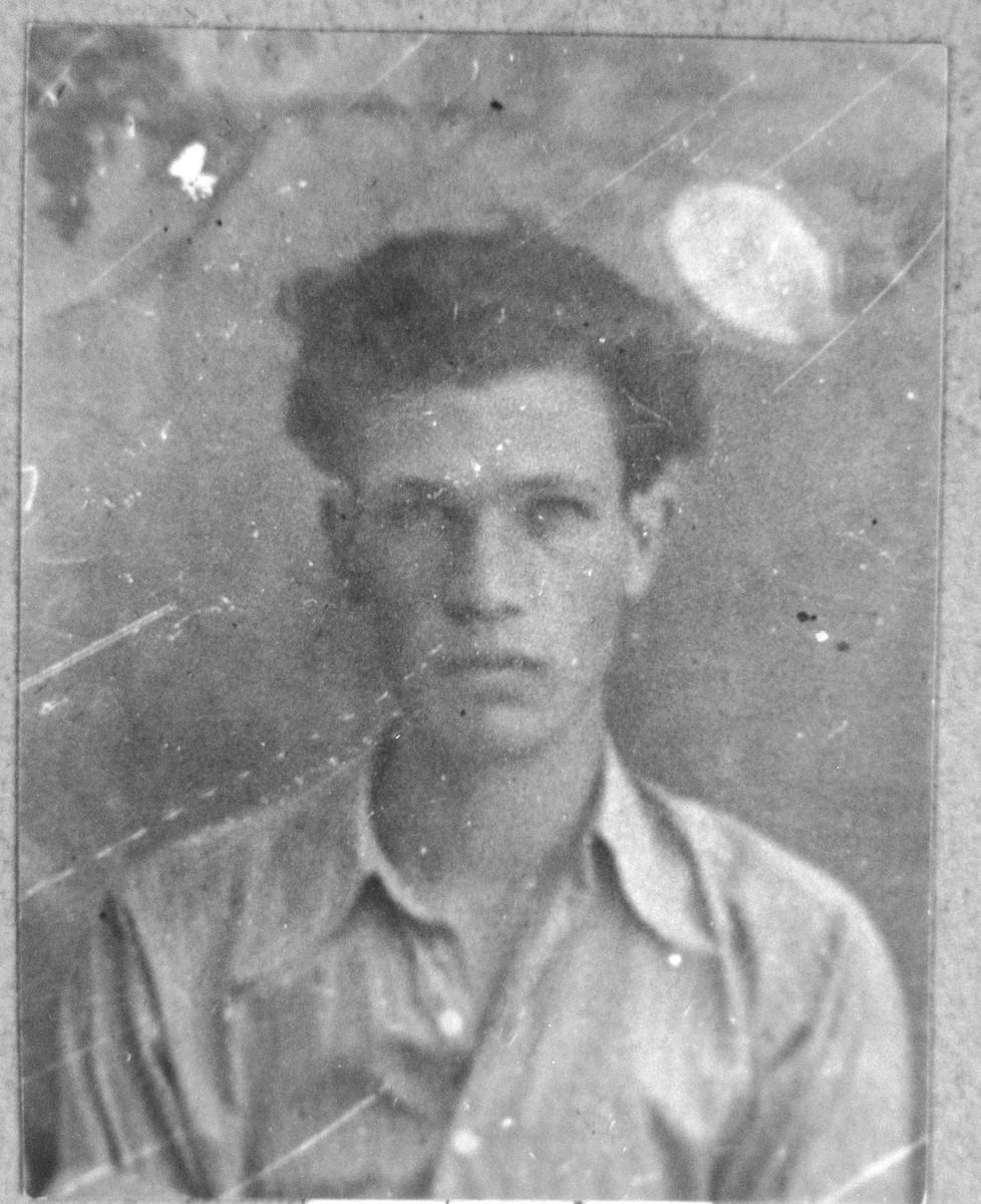 Portrait of Todoros Levi, son of David Levi.  He was a carpenter.  He lived at Skopyanska 58 in Bitola.
