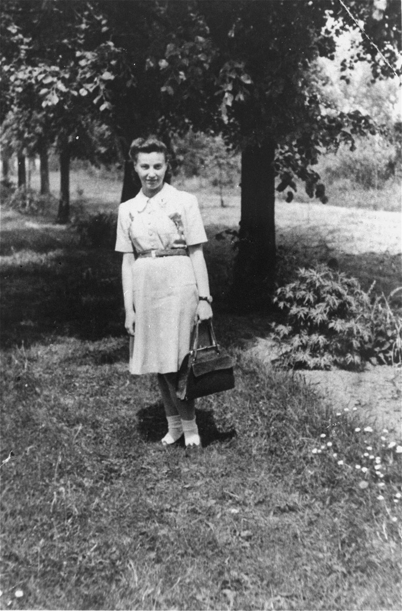 Feigele Peltel (now Vladka Meed) on one of her missions as a courier for the Jewish underground.