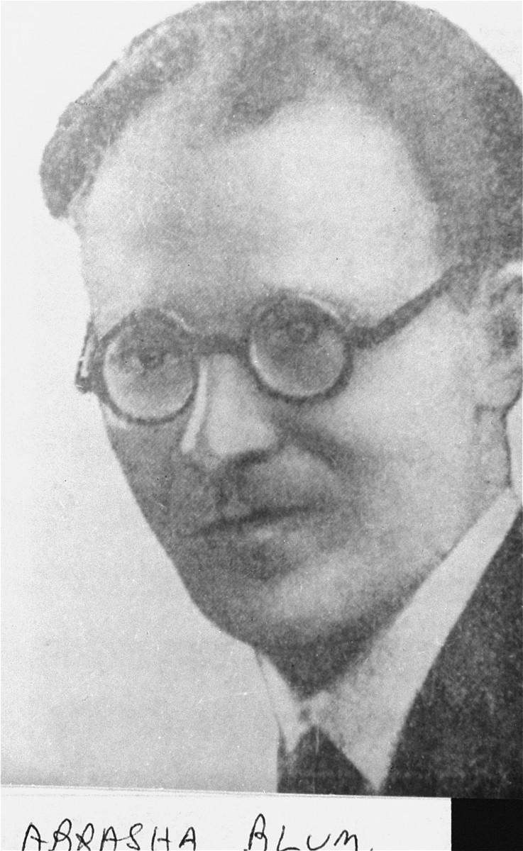 Portrait of Abraham Blum, member of the Jewish underground in the Warsaw ghetto.