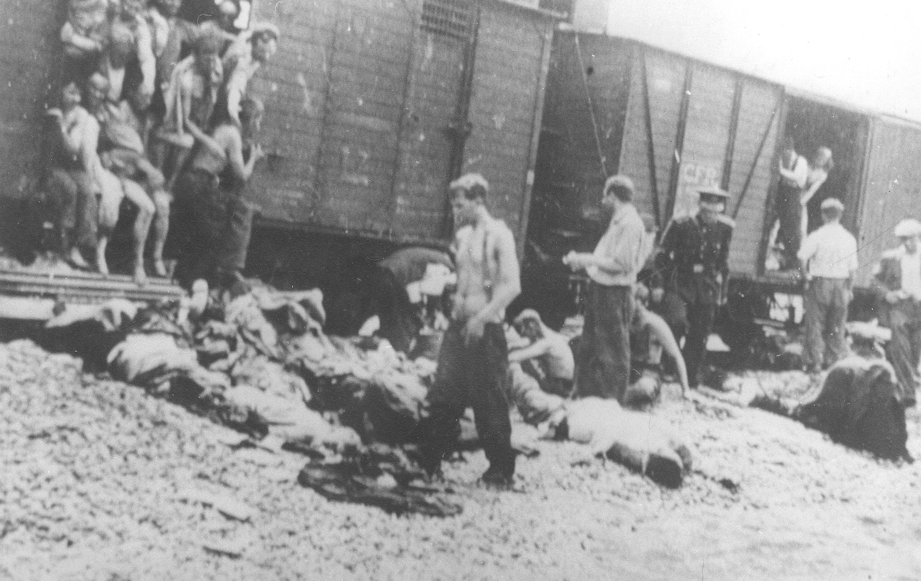 Local Roma, supervised by a Romanian policeman, help remove corpses from the Iasi-Calarasi death train during a stop in Targu-Frumos.