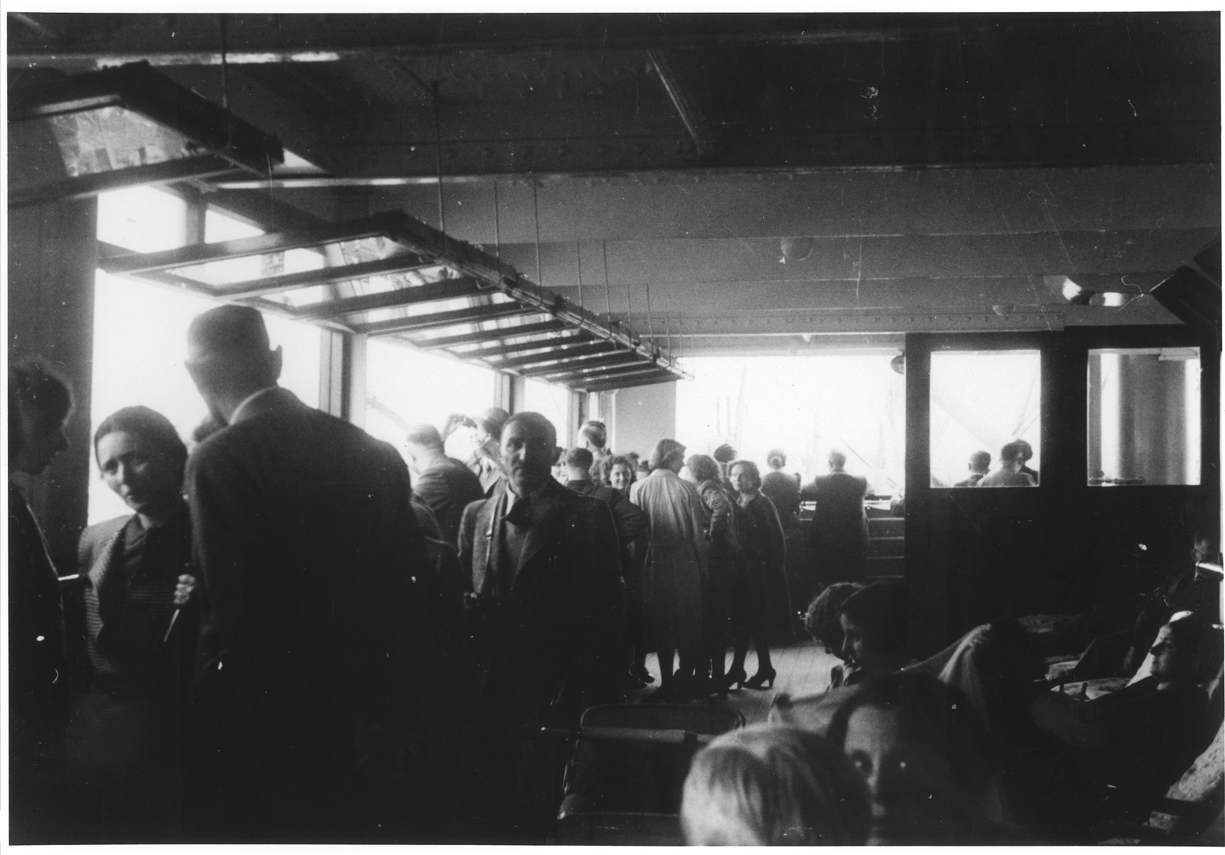 Jewish refugees gather below deck on the MS St. Louis.