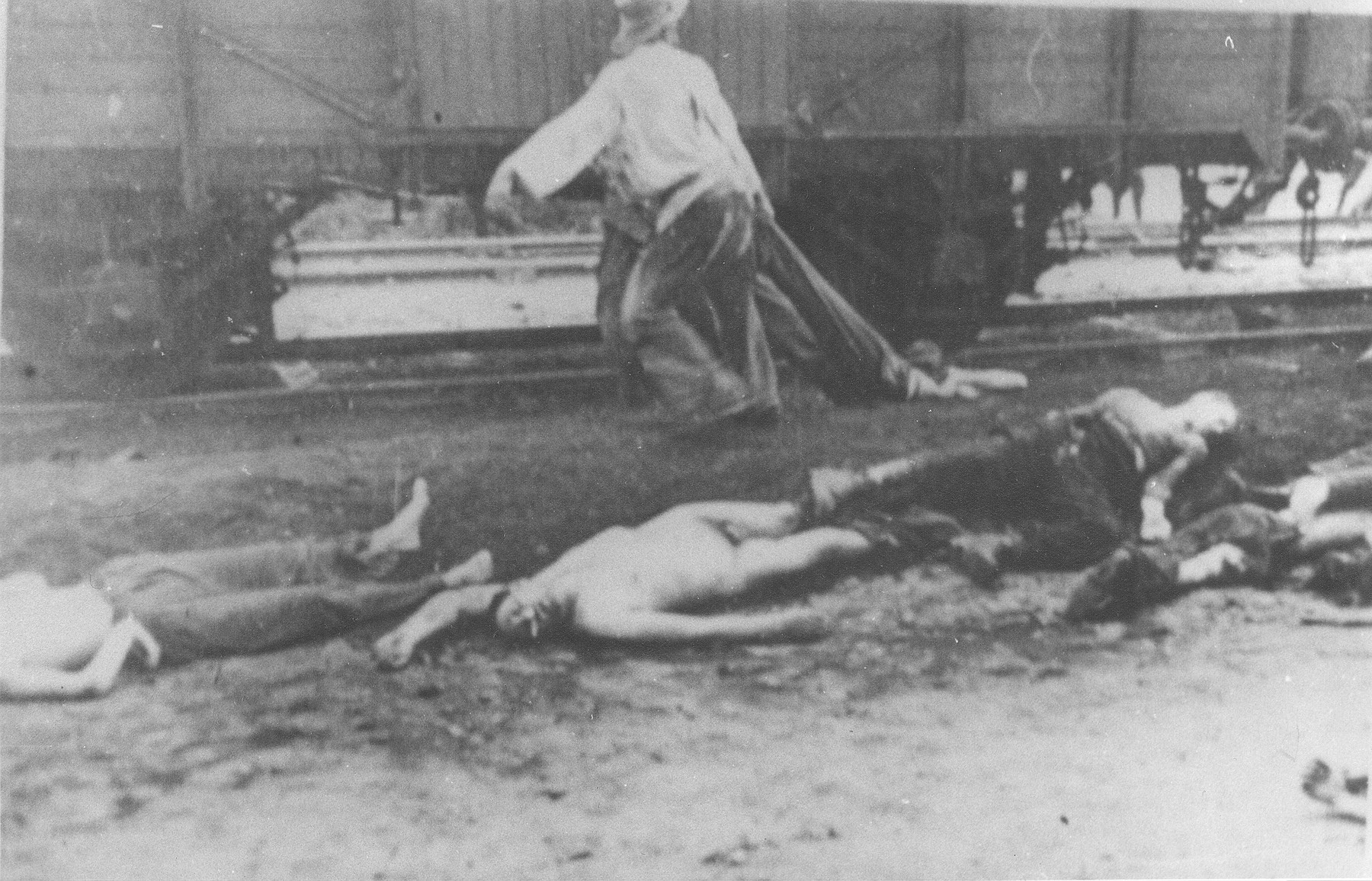 Two Gypsies collect bodies unloaded from the Iasi-Calarasi death train during a stop in Targu-Frumos.