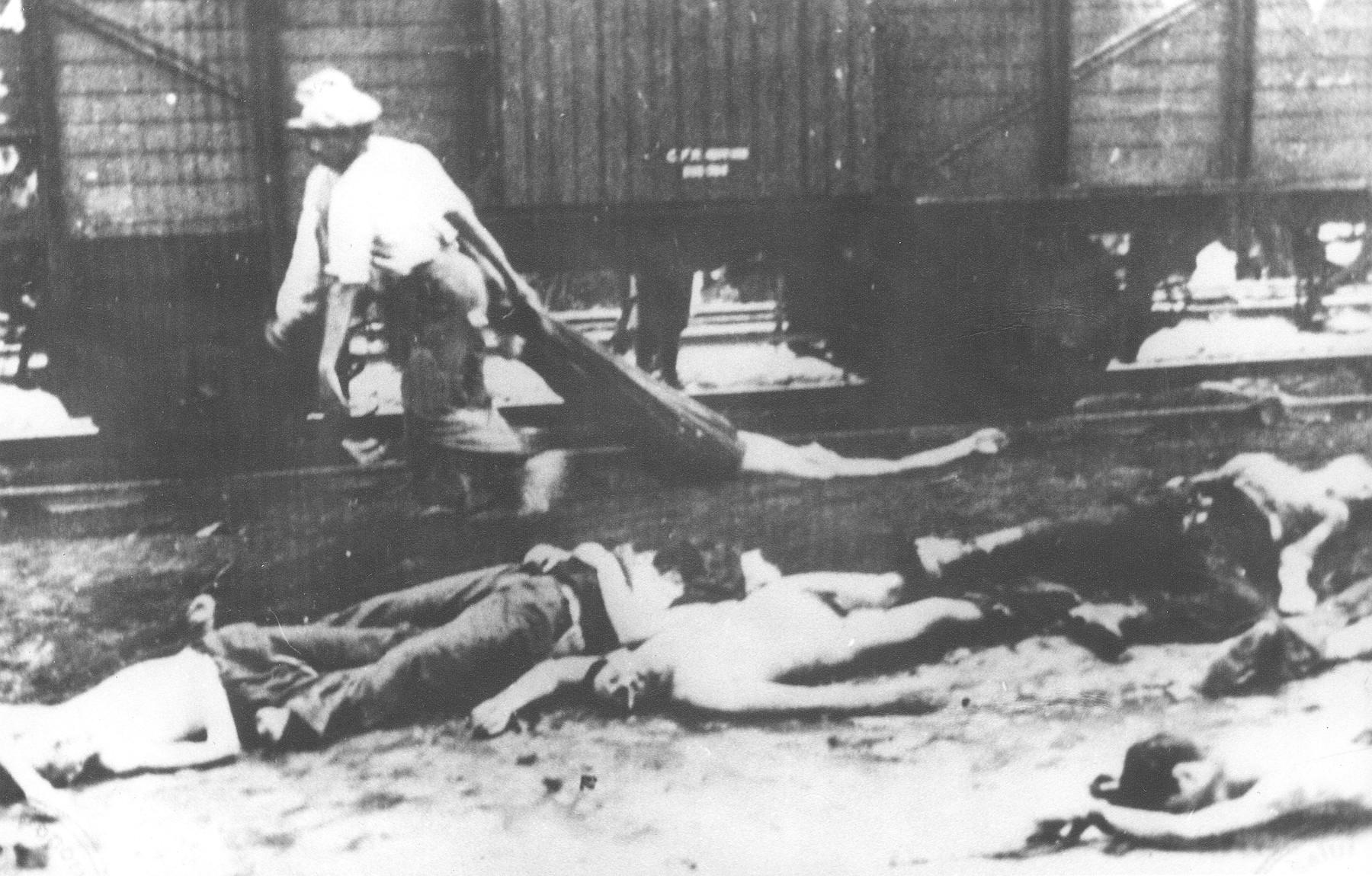 Two Romani men remove bodies from the Iasi-Calarasi death train during a stop in Targu-Frumos.