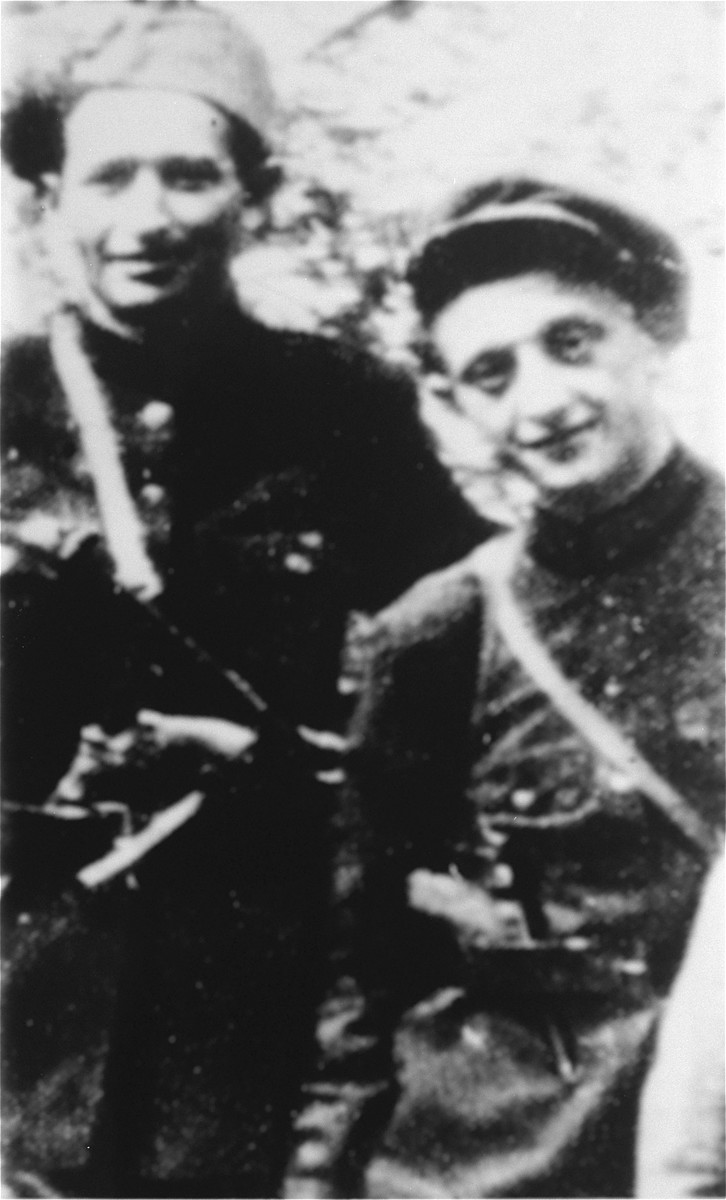 Resistance fighter Eliezer Zilberis with the commander of his partisan unit, Leibe Zayetz.  Zilberis participated in the Kovno ghetto resistance.