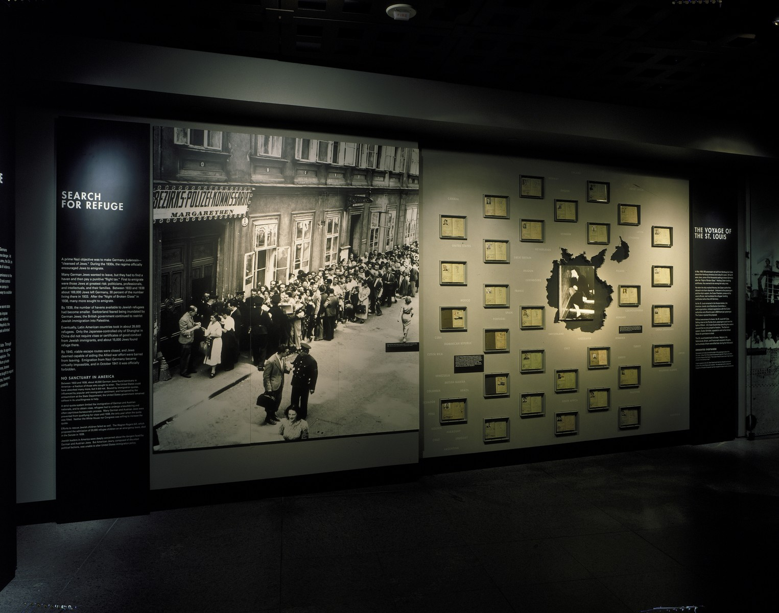 """View of the """"Search for Refuge"""" segment of the permanent exhibition in the U.S. Holocaust Memorial Museum."""