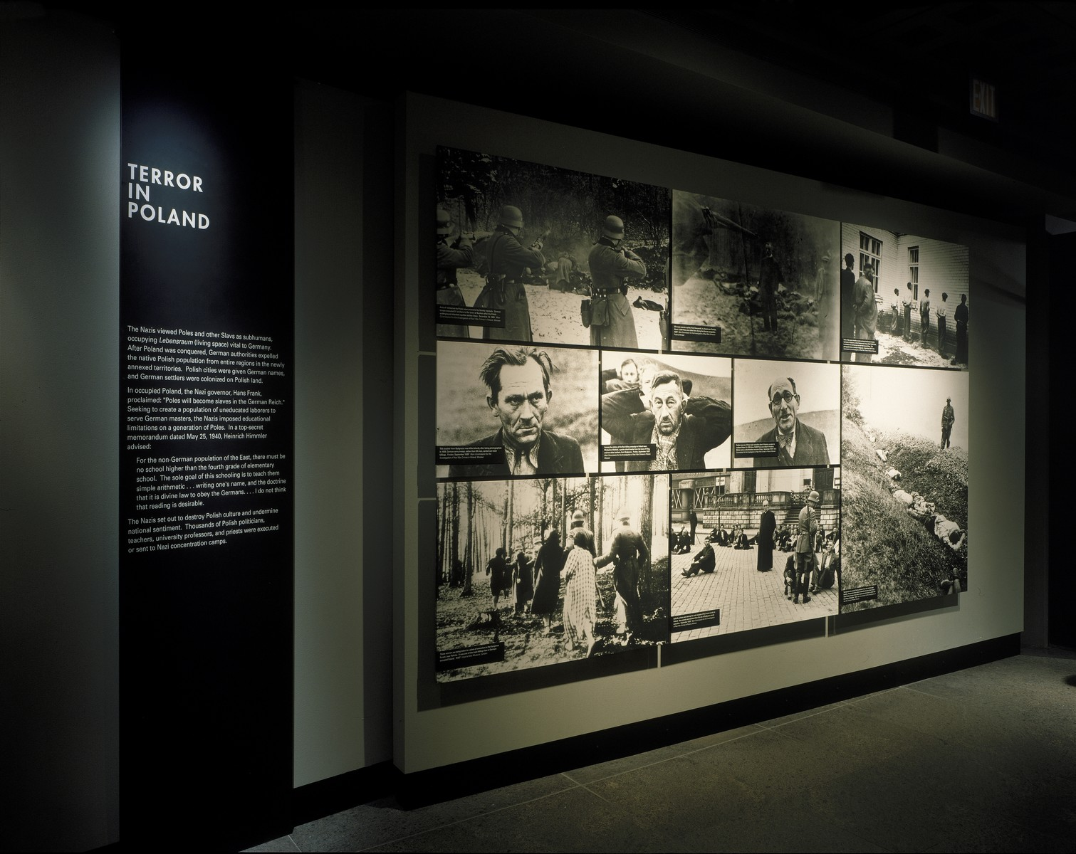 """View of the """"Terror in Poland"""" segment of the permanent exhibition in the U.S. Holocaust Memorial Museum."""