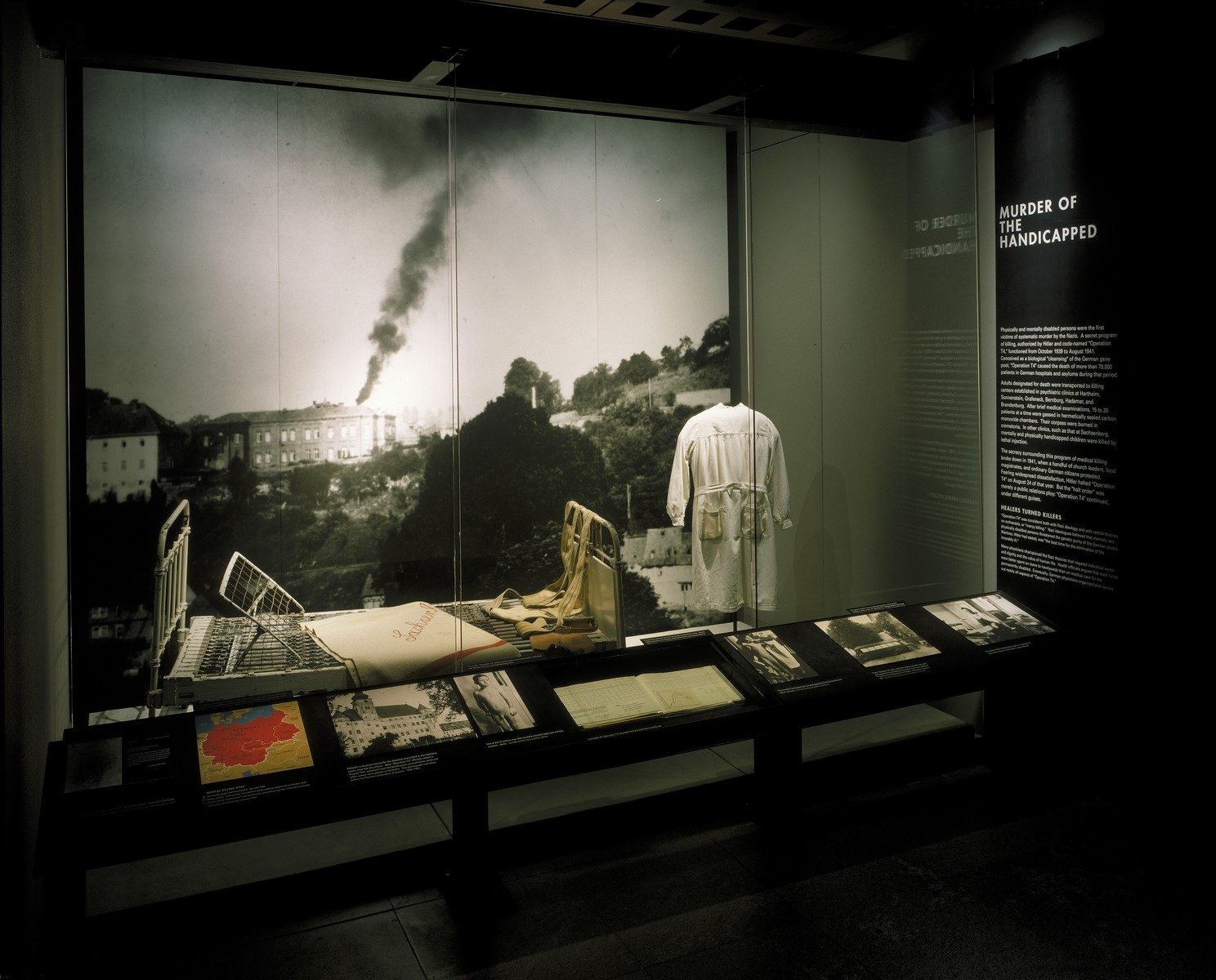 "View of the ""Murder of the Handicapped"" segment on the fourth floor of the permanent exhibition in the U.S. Holocaust Memorial Museum."